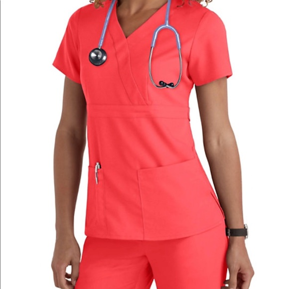 8931bd73b95 Grey's Anatomy Other | Coral Papaya Greys Anatomy Scrub Set | Poshmark